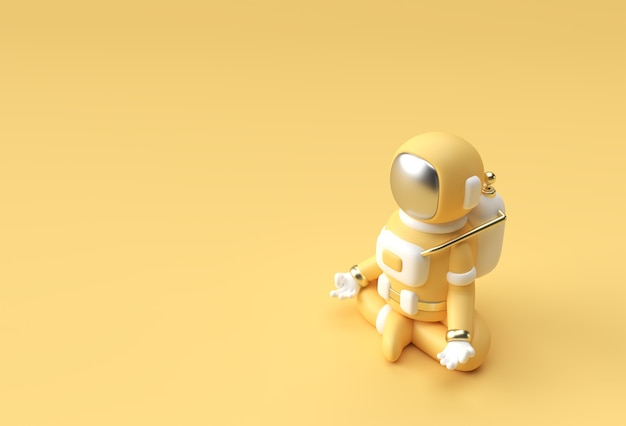 3d render spaceman astronaute yoga gestes illustration 3d conception.