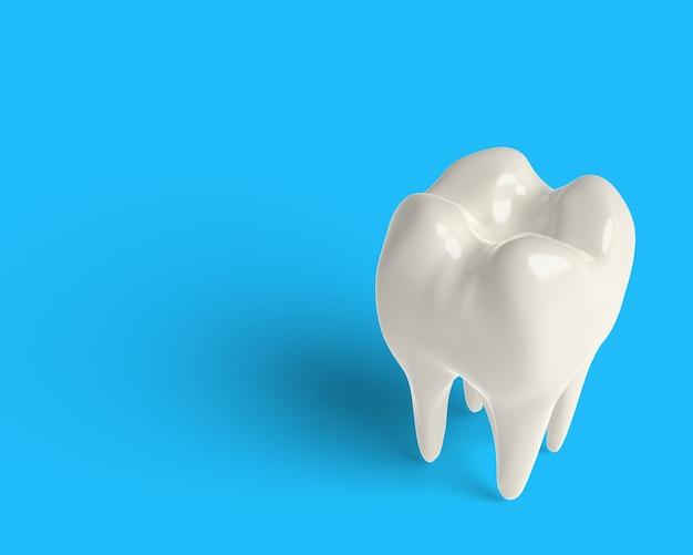 3d rendre la dent propre, blanchissant, coupant une partie