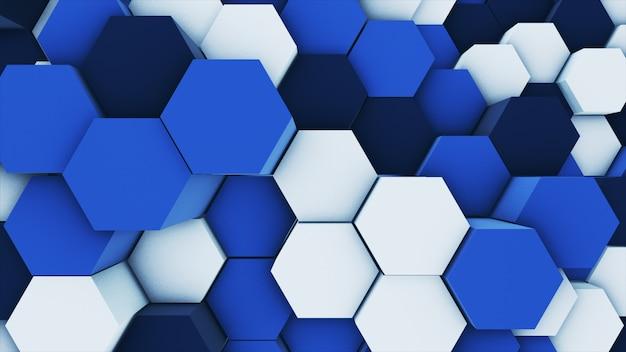 3d rendu abstrait coloré beaucoup d'hexagones géométriques techniques comme une vague