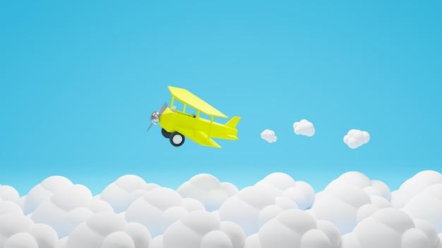 3d, rendu, avion jaune, voler, à, nuage