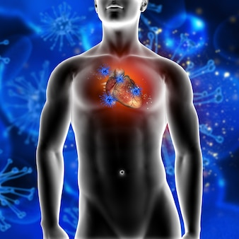 3d rendu d'un fond médical montrant des cellules de virus attaquant un coeur dans un personnage masculin