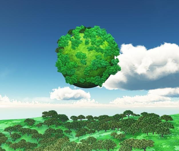 3d rendu d'un globe d'arbres sur un paysage herbeux