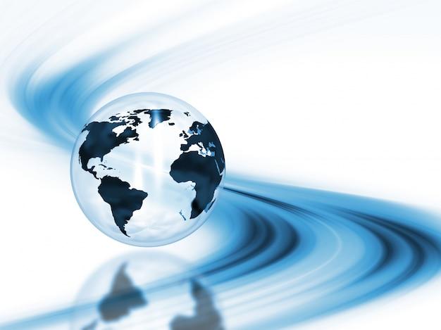 3d rendu d'un globe sur un fond abstrait
