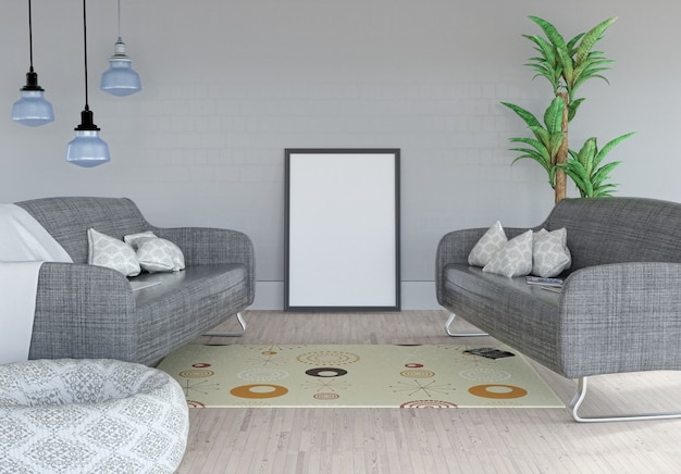 3d rendu d'une image vierge appuyée contre un mur dans une pièce intérieure