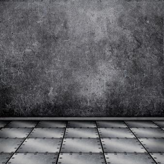 3d rendu d'un intérieur grunge avec plancher en métal