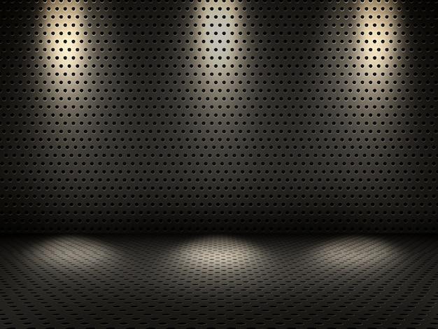 3d rendu d'un intérieur métallique avec des projecteurs