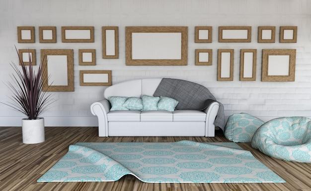 3d rendu d'un intérieur de pièce avec la collection de cadres photo vierges sur le mur