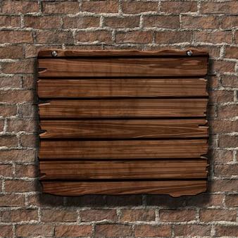 3d rendu d'un panneau en bois grunge sur un vieux mur de briques