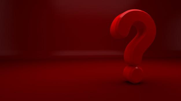 3d rendu de point d'interrogation rouge sur fond rouge. exclamation et point d'interrogation