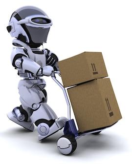 3d rendu d'un robot en déplacement des boîtes d'expédition