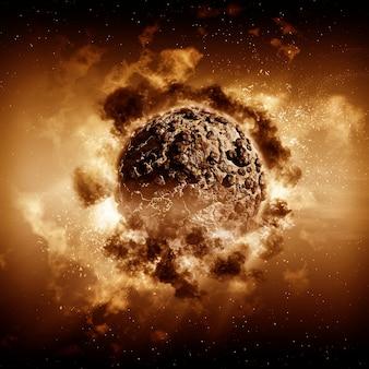 3d rendu d'une scène planète orageuse