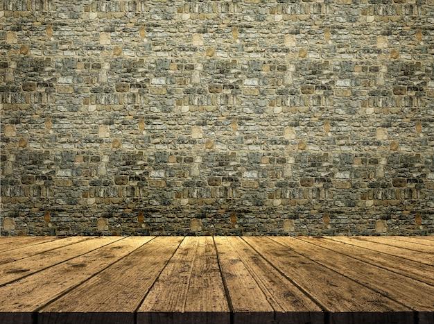 3d rendu d'une table en bois donnant sur une texture de mur de pierre