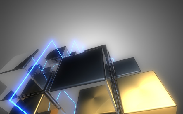 3d, résumé, cubes, fond, à, néon, light., 3d, illustration