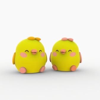 3d rillustration kawaii poulet petits oiseaux personnage de dessin animé mignon