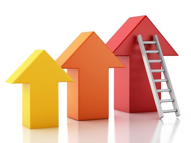 3d stair menant une flèche. concept de réussite