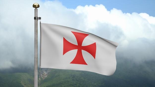 3d les templiers brandissent le drapeau sur le vent à la montagne. pauvres camarades soldats du christ et temple de salomon bannière soufflant, soie douce et lisse. fond d'enseigne de texture tissu tissu