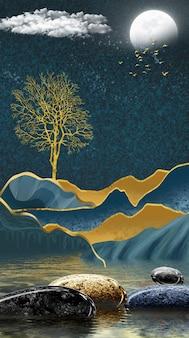 3d toile moderne art mural papier peint paysage en fond sombre lune et arbre de noël doré