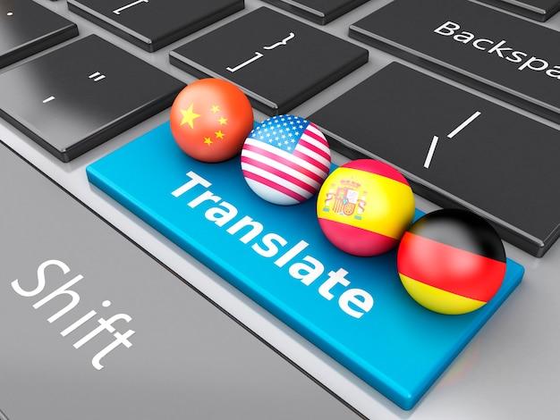 3d traduire les langues étrangères sur le clavier de l'ordinateur