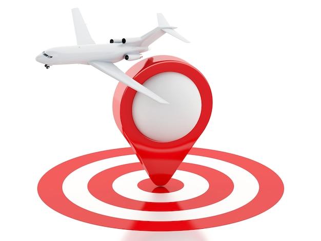 3d valise de voyage, avion et pointeur de carte dans la cible rouge.