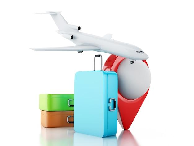 3d valise de voyage, avion et pointeur de carte.