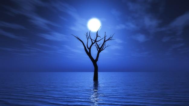 3d vieil arbre en mer la nuit