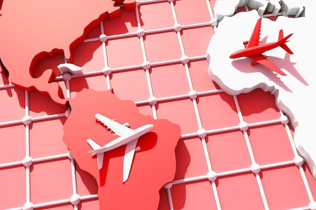 3d voyager à travers le monde en avion. illustration 3d. voyager à travers le monde en avion. concept de voyage dans le monde