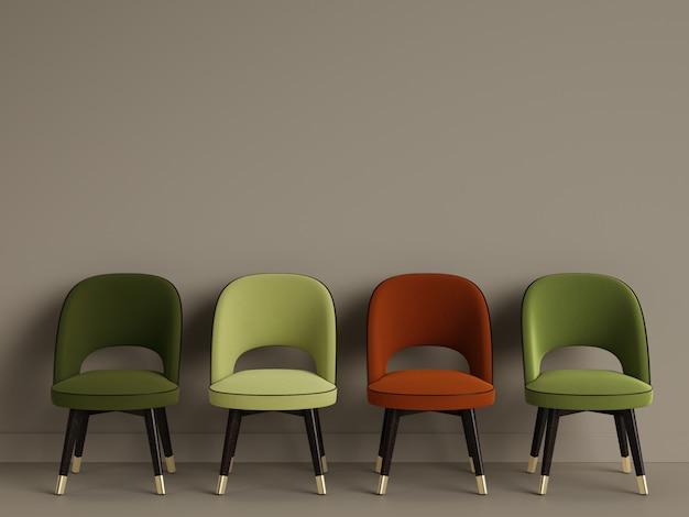 4 chaises dans la chambre avec espace copie. rendu 3d