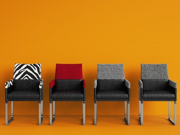 4 chaises de différentes couleurs dans une salle jaune avec espace copie. rendu 3d