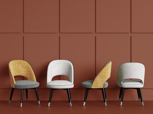 4 chaises sur espace copie mur rouge. rendu 3d