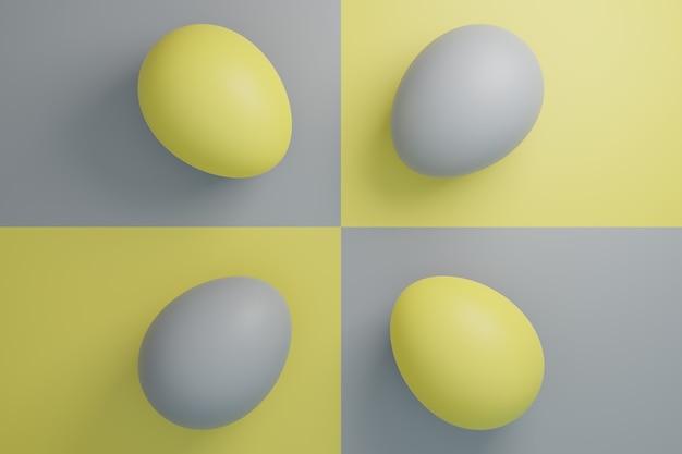 4 oeufs jaunes et gris illustration de concept de vacances de pâques dans des couleurs à la mode