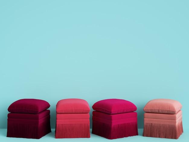 4 poufs de différentes couleurs roses dans une chambre bleue avec espace copie. rendu 3d