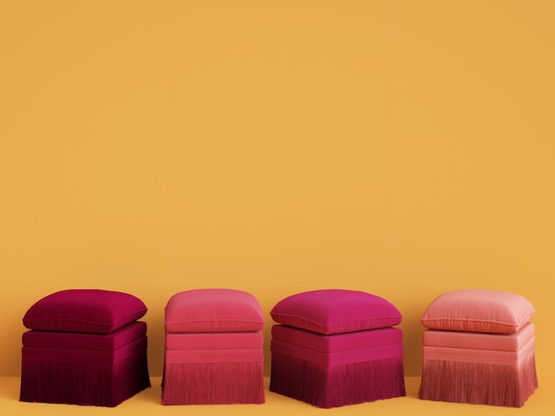 4 poufs de différentes couleurs roses dans une chambre jaune avec espace copie. rendu 3d