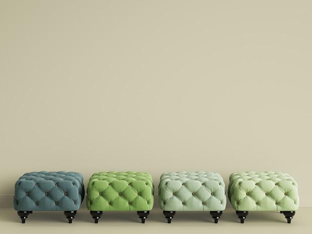 4 poufs de différentes couleurs vertes dans une chambre beige avec espace copie. rendu 3d