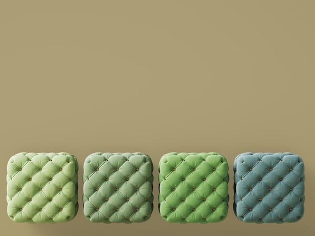 4 poufs de différentes couleurs vertes avec espace copie. rendu 3d
