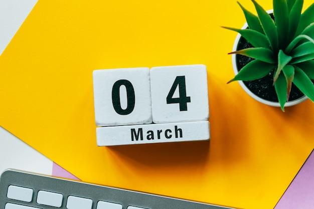4 quatrième jour de mars sur le calendrier
