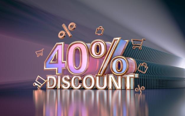 40 pour cent d'arrière-plan de réduction d'offre spéciale pour le rendu 3d de l'affiche de promotion des médias sociaux