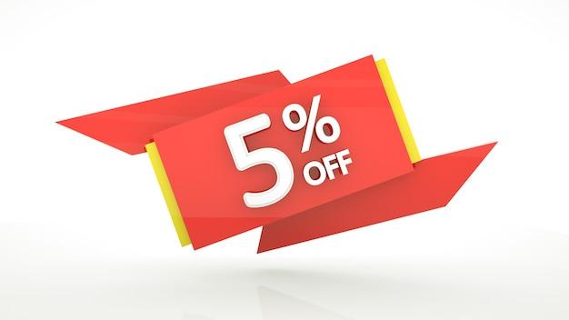 5 pour cent de réduction sur l'illustration 3d modèle de bannière de chiffres rouges cinq pour cent prêt pour votre conception