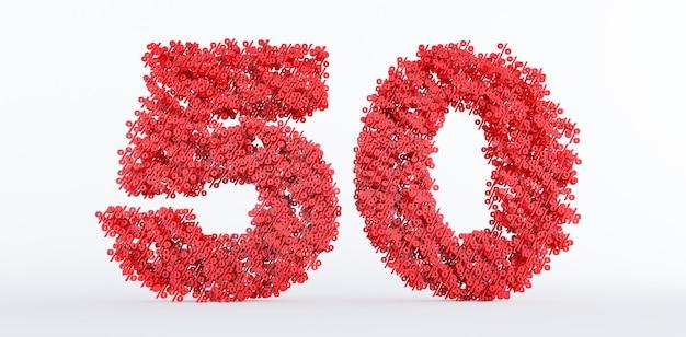 50% de réduction sur le prix isolé sur fond blanc. symbole de réduction de 50 pour cent,