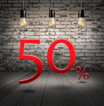 50% de réduction avec texte spécial offre votre réduction dans un intérieur en briques blanches