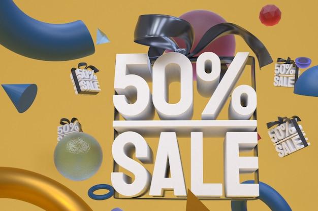 50% de vente avec un arc et un ruban 3d design sur fond de géométrie abstraite