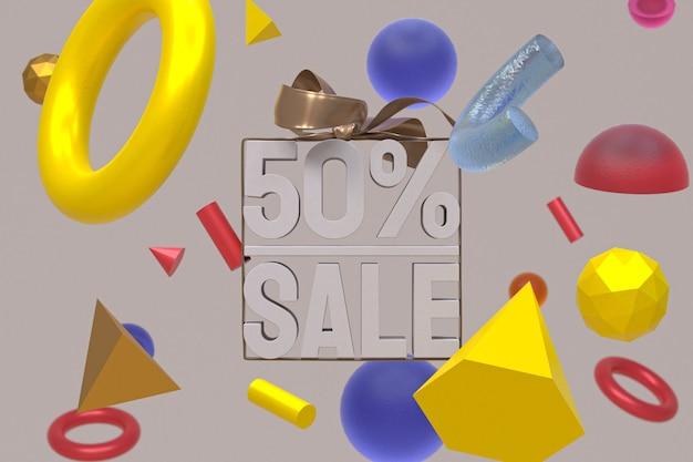 50% vente avec arc et ruban design 3d sur fond de géométrie abstraite