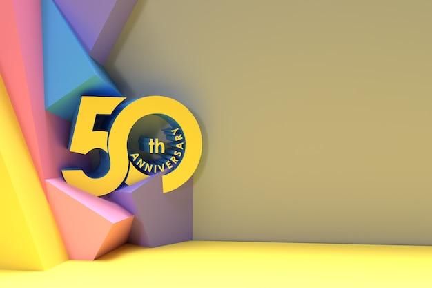 50e anniversaire de l'espace de célébration de votre texte 3d render illustration design.