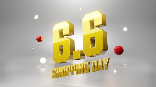 6.6 journée de magasinage. concept de bannière marketing. illustration 3d