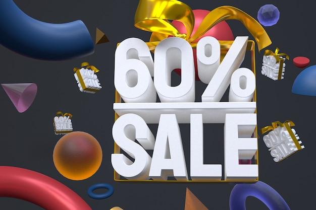 60% vente avec arc et ruban 3d design sur fond de géométrie abstraite