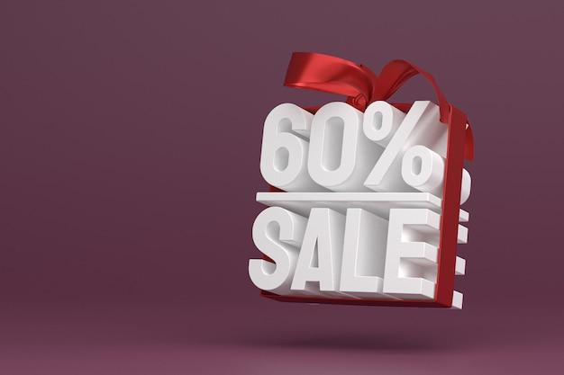 60% vente avec arc et ruban 3d design sur fond vide