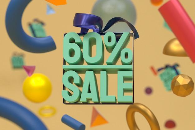 60% vente avec arc et ruban design 3d sur fond de géométrie abstraite