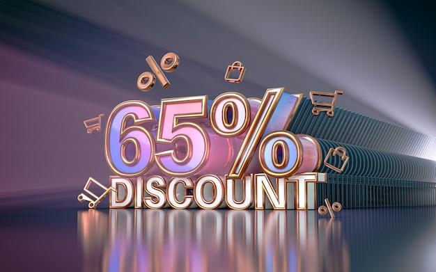 65 pour cent d'arrière-plan de remise d'offre spéciale pour le rendu 3d de l'affiche de promotion des médias sociaux