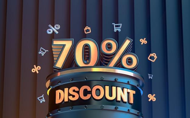 70 pour cent d'arrière-plan de réduction d'offre spéciale pour le rendu 3d de l'affiche de promotion des médias sociaux
