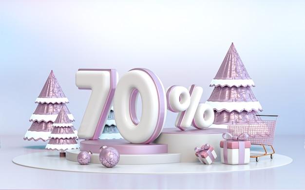70 pour cent d'arrière-plan de remise d'offre spéciale d'hiver pour le rendu 3d de l'affiche de promotion des médias sociaux
