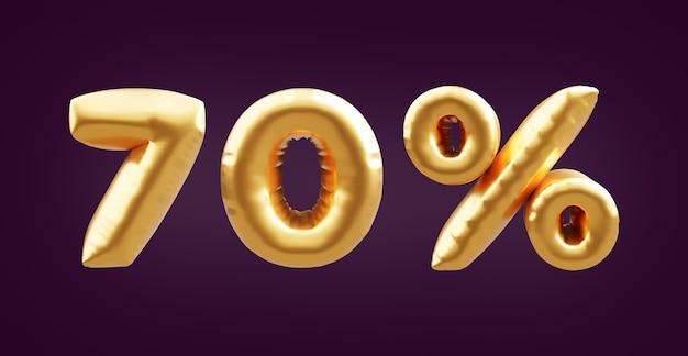 70 pour cent d'illustration de ballon 3d doré. illustration de ballon 3d doré à soixante-dix pour cent. 70% ballons dorés